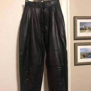 Genuine Danier leather loose fitting pants